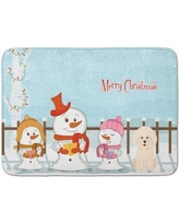 The Holiday Aisle Merry Christmas Carolers Bichon Frise Memory Foam Bath Rug THLA5329