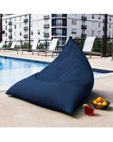 Jaxx Twist Large Outdoor Friendly Bean Bag Chair & Lounger Upholstery: Navy, Performance Fabric/Mildew Resistant/Fade Resistant in Brown/White/Blue