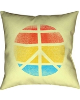 """Latitude Run Jackie Peace Sign Suede Throw pillow LTDR6786 Size: 26"""" H x 26"""" W"""