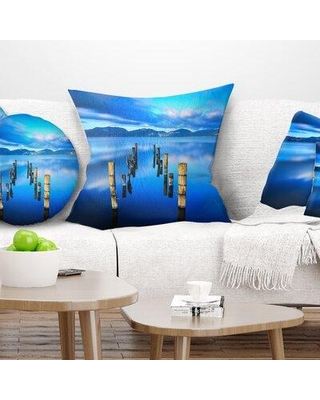 """East Urban Home Seascape Wooden Pier Remains in Sea Pillow FUVD6574 Size: 16"""" x 16"""" Product Type: Throw Pillow"""