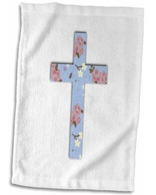 Shop Deals On East Urban Home Trey Floral Christian Cross Girly Flower Pattern Crucifix Hand Towel Cotton Microfiber Terry In Blue White Size 22 W X 15 D