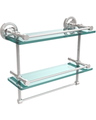 Allied Brass 16 in. L x 12 in. H x 5 in. W 2-Tier Gallery Clear Glass Bathroom Shelf with Towel Bar in Polished Chrome
