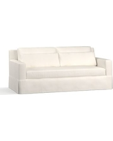 """York Square Arm Slipcovered Deep Seat Sofa 79"""" with Bench Cushion, Down Blend Wrapped Cushions, Denim Warm White"""