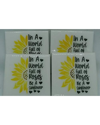 Sunflower Ceramic Coasters, Set of 4