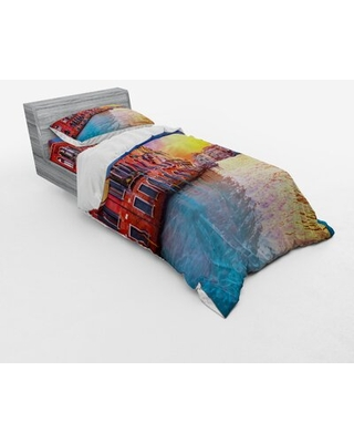 European Venice Canal with Historical Buildings Famous Town Scenery Duvet Cover Set East Urban Home Size: Twin Duvet Cover + 2 Additional Pieces