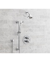 Victoria Thermostatic Cross-Handle Hand-Held Shower Faucet Set, Chrome Finish