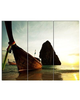 Design Art 'Tropical Beach with Huge Boat' 3 Piece Photographic Print on Wrapped Canvas Set PT12445-3P