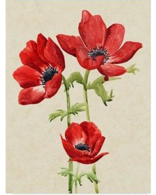 """East Urban Home 'Heirloom Anemones I' Acrylic Painting Print on Wrapped Canvas W000746003 Size: 24"""" H x 18"""" W x 2"""" D"""