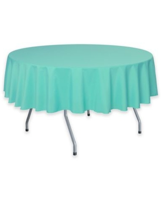 72-Inch Round Polyester Tablecloth in Caribbean Blue