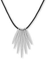Chaps Silver 28 Inch Silver Tone Leather Stick Pendant Necklace