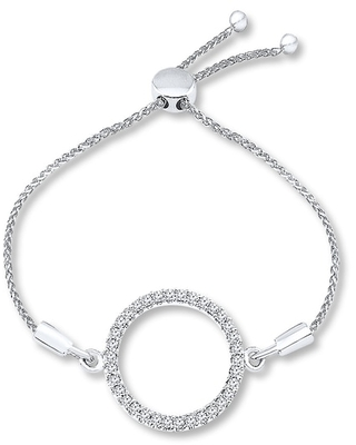 Jared The Galleria Of Jewelry Diamond Circle Bolo Bracelet 1/5 ct tw Round-cut Sterling Silver