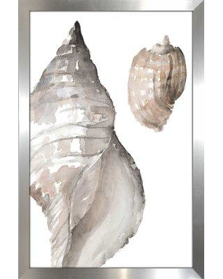 """Highland Dunes 'Tonal Shell I' Watercolor Painting Print BF163542 Size: 48"""" H x 32"""" W x 0.75"""" D Format: Picture Frame"""