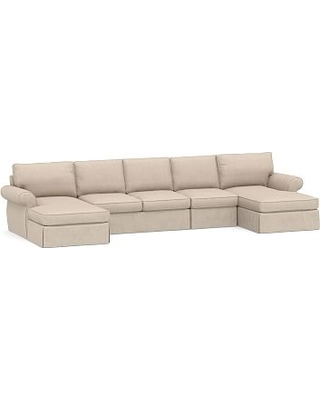 Pearce Roll Arm Slipcovered 4-Piece Double Chaise Sectional, Down Blend Wrapped Cushions, Sunbrella(R) Performance Sahara Weave Oatmeal