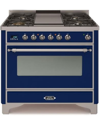 """UM09FDNS3MBC 36"""" Majestic II Series Dual Fuel Natural Gas Range with 6 Burners and Griddle 3.5 cu. ft. Oven Capacity TFT Oven Control Display"""