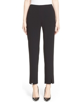 St. John Collection 'Jennifer' Crepe Marocain Ankle Pants, Size 2 in Caviar at Nordstrom