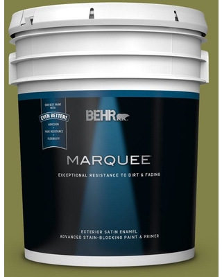 BEHR MARQUEE 5 gal. #MQ6-61 Basil Chiffonade Satin Enamel Exterior Paint and Primer in One