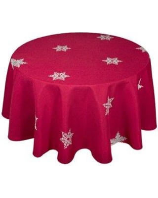 The Holiday Aisle Snowflake Embroidered Christmas Round Tablecloth THDA1985 Color: Red