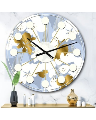 Oversized Orchid Blossom Mid-Century Wall Clock East Urban Home Size: Large