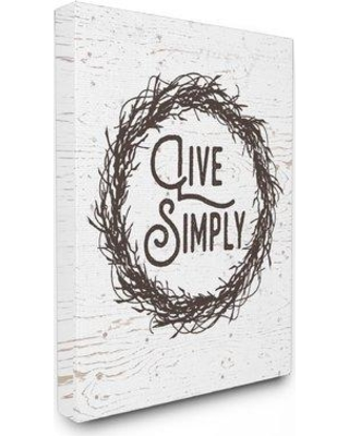 """Stupell Industries Live Simply Twig Wreath' Textual Art mwp-283_cn_16x20 Size: 20"""" H x 16"""" W Format: Canvas"""