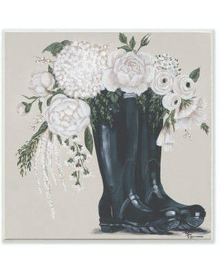 The Stupell Home Decor Collection White Flower Arrangement in Black Boots Painting Wood Wall Art