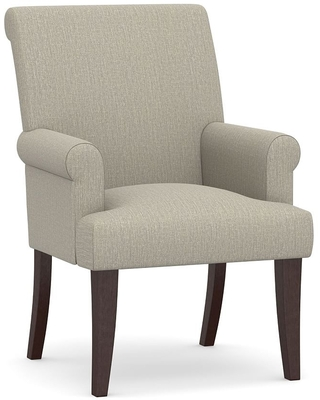 PB Comfort Roll Upholstered Dining Arm Chair, Espresso Frame, Chenille Basketweave Pebble