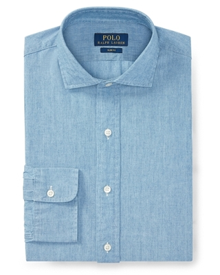 Ralph Lauren Slim Fit Chambray Shirt in French Blue - Size 18.5