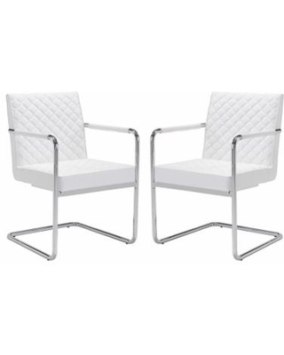 Zuo Modern Quilted Dining Chair 2-piece Set, White