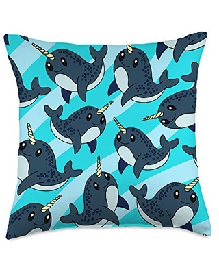 Narwhal gifts co Cute Narwhal Animal Lover Gift Women Girl Throw Pillow, 18x18, Multicolor
