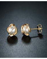 Peermont Women's Earrings Gold - Imitation Pearl & 18k Gold-Plated Cage Stud Earrings