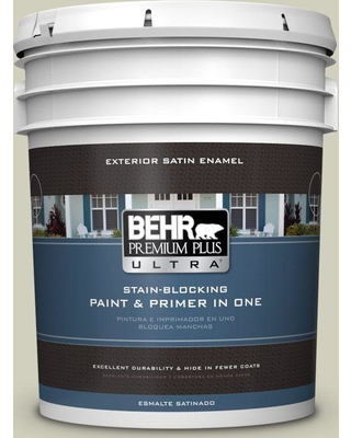 BEHR ULTRA 5 gal. #400E-3 Mountain Haze Satin Enamel Exterior Paint and Primer in One