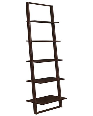 4D Concepts Lytle Creek 72.4 in. 4 Shelf Brown Wood Ladder Bookcase