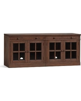 Livingston Small TV Stand with Glass Doors, Brown Wash