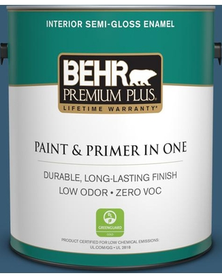 BEHR Premium Plus 1 gal. #S490-7 Superior Blue Semi-Gloss Enamel Low Odor Interior Paint and Primer in One