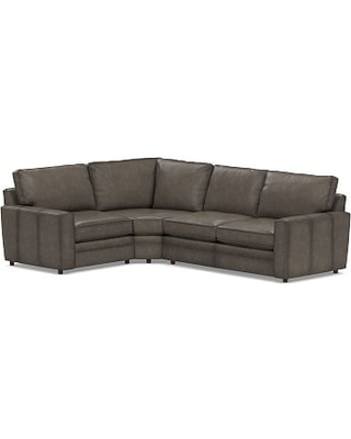Pearce Square Arm Leather Right Arm 3-Piece Wedge Sectional, Polyester Wrapped Cushions, Leather Burnished Wolf Gray