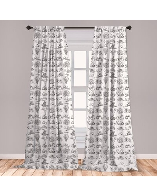 "Vegetable Art Room Darkening Rod Pocket Curtain Panels East Urban Home Size per Panel: 28"" x 95"""