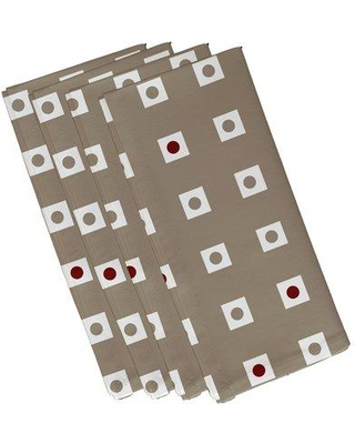 "e by design Hip to be Square Geometric Napkin N4GN203 Size: 22""W x 22"" L Color: Taupe / Red"
