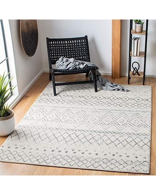 """Safavieh Madison Collection MAD798D Moroccan Boho Distressed Area Rug, 5' 1"""" x 7' 6"""", Ivory/Charcoal"""