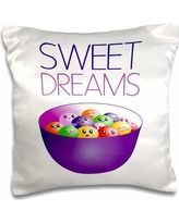 East Urban Home Sweet Dreams Bowl of Smiley Candy Jelly Beans Pillow Cover W000348837