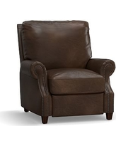 James Leather Recliner, Down Blend Wrapped Cushions, Vintage Cocoa