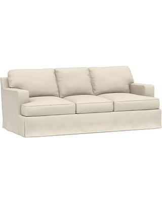 """Townsend Square Arm Slipcovered Sofa 86.5"""", Polyester Wrapped Cushions, Performance Brushed Basketweave Ivory"""