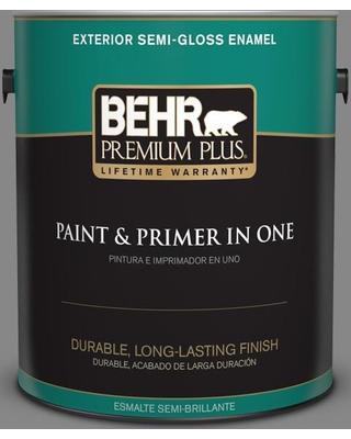 BEHR Premium Plus 1 gal. #PPU26-04 Falcon Gray Semi-Gloss Enamel Exterior Paint and Primer in One