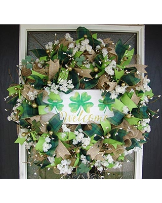 XL Stunning Welcome St. Patricks Day Pip Berry Deco Mesh Front Door Wreath, Outdoor Indoor Porch Patio Wall Decor, Spring Decoration, March Shamrock