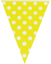 Wrapables Triangle Pennant Banner Party Decorations for Birthday Parties, Baby Showers, Nursery Decor, Picnics, and Bake Sales, Yellow Polka Dots