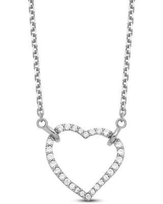 Jared The Galleria Of Jewelry Heart Necklace Diamond Accents 14K White Gold
