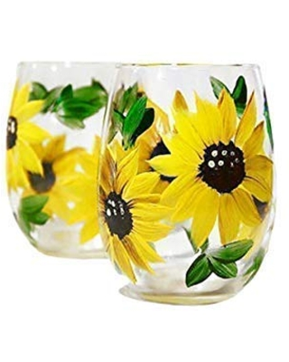 Sales On Sunflower Stemless Wine Glasses Gift For Women Kitchen Decor Rustic Country Farmhouse Set Of 2 Hand Painted