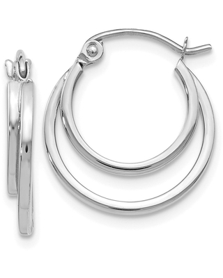 Curata 14k White Gold Hinged post Polished Hinged Hoop Earrings Jewelry Gifts for Women