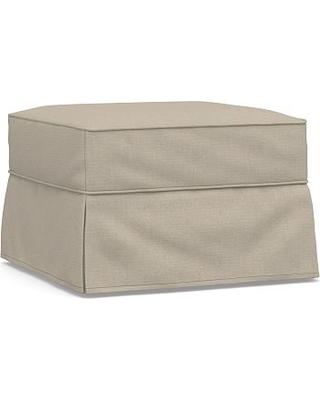 Buchanan Slipcovered Ottoman, Polyester Wrapped Cushions, Brushed Crossweave Natural