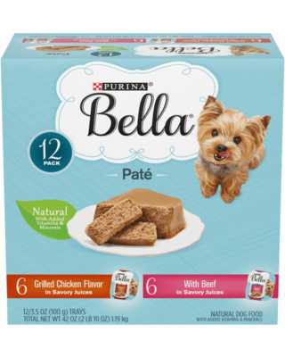 (12 Pack) Purina Bella Natural Small Breed Pate Wet Dog Food Variety Pack, Grilled Chicken Flavor & With Beef in Juices, 3.5 oz. Trays