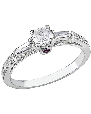 Miadora 14k White Gold 1/2ct TDW Diamond Engagement Ring with Pink Sapphire Accents (H-I, I2-I3) (6)