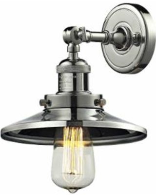"Railroad Collection 8"" High Nickel and Metal Wall Sconce"
